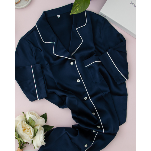 Silk Nightshirt - French Navy piped in Ivory