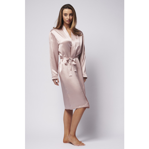 Pure Silk Dressing Gown - Tea Rose
