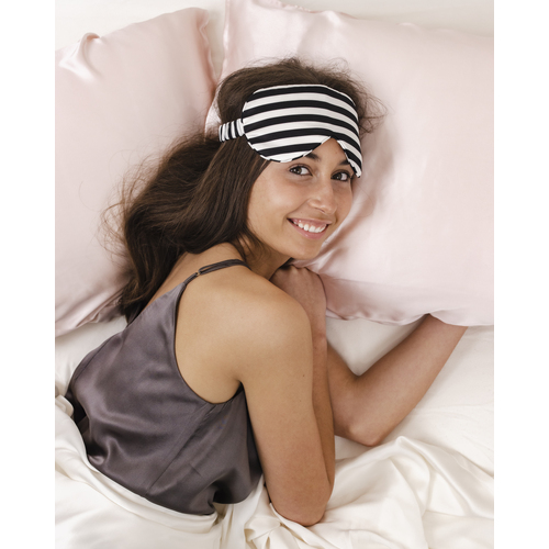 Pure Silk Travel Eye Mask Striped - Ivory & Black Striped
